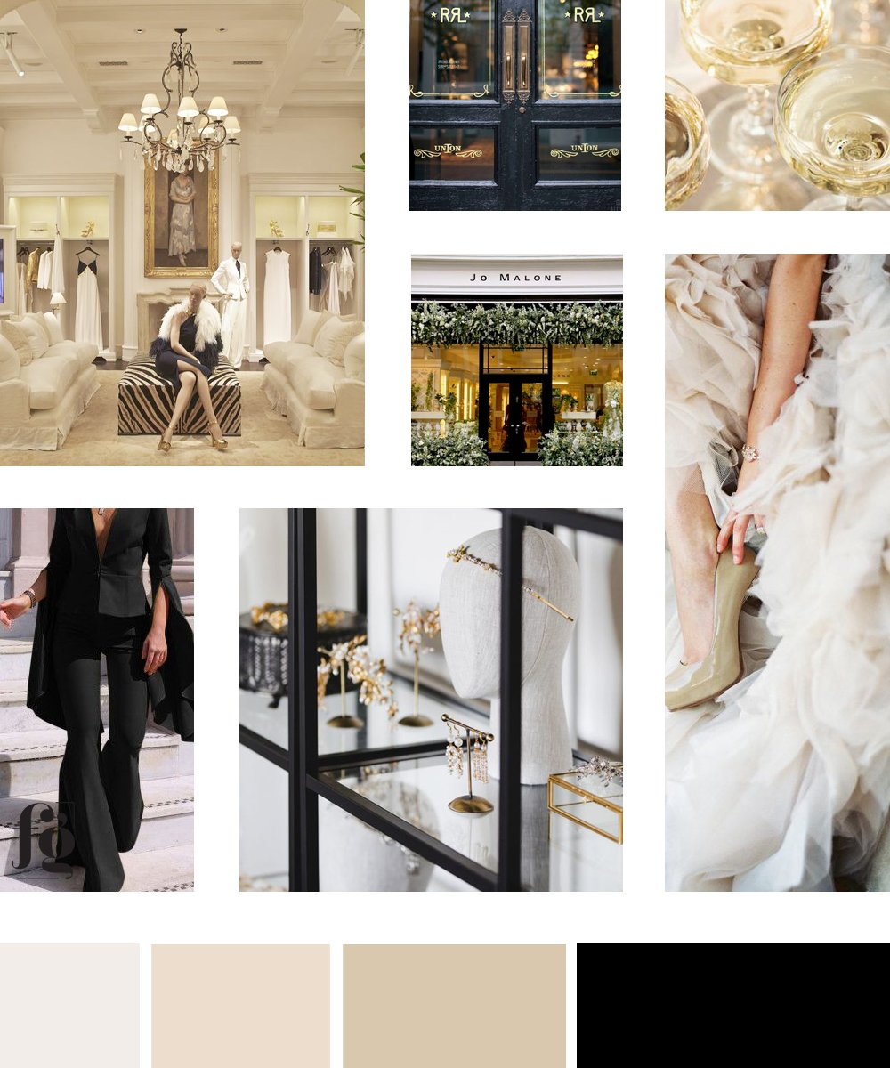 moodboard and color palette for Poirrier & Co Couture in timeless, elegant ivory and cream paired with black