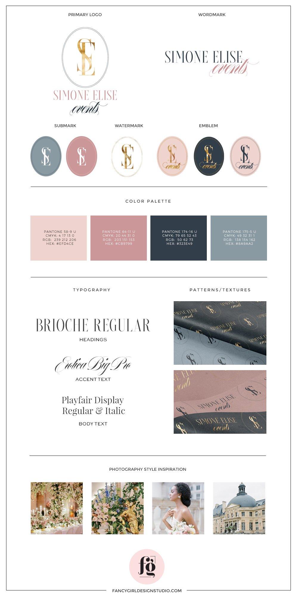 Brand Style Guide for Simone Elise Events | timeless, elegant, romantic logo design