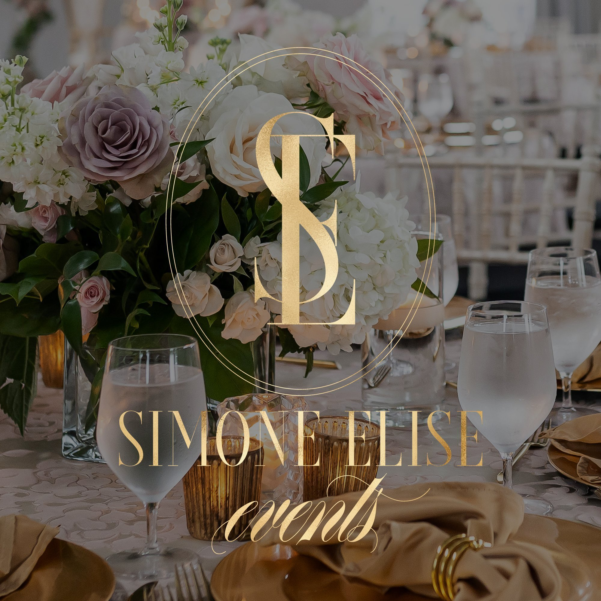 timeless, elegant, upscale logo design for Simone Elise Events in metallic gold