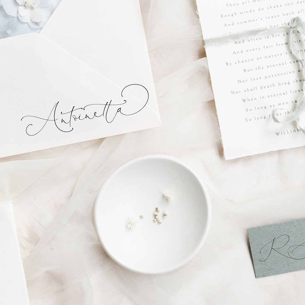 antoinetta script - 12 of the most beautiful calligraphy fonts for weddings
