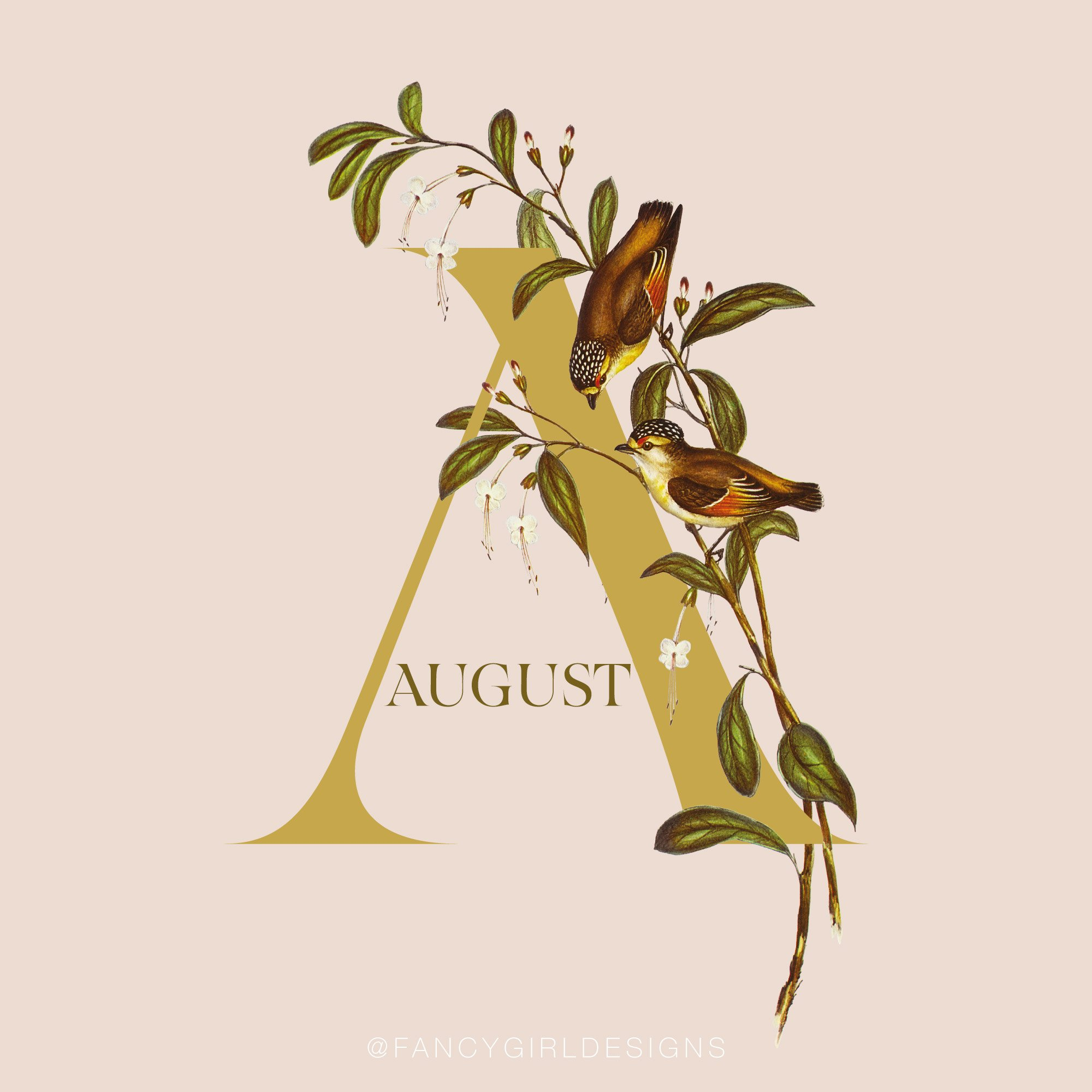 vintage floral typeart, letter A for August