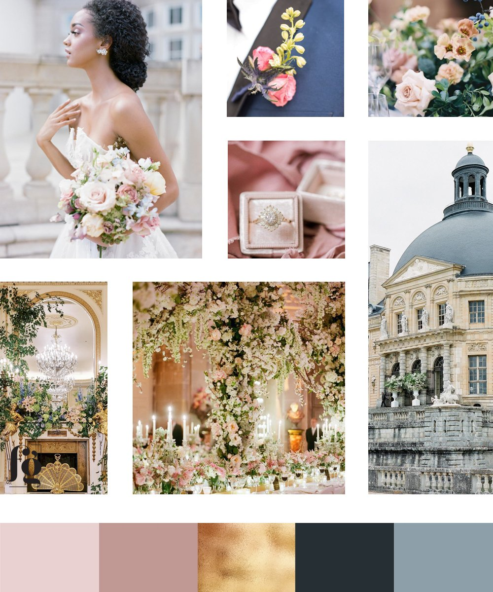 moodboard and color palette for Simone Elise Events with a warm, muted, romantic palette